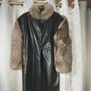 😍Killer Vintage! Full Length Leather and Fur Coat